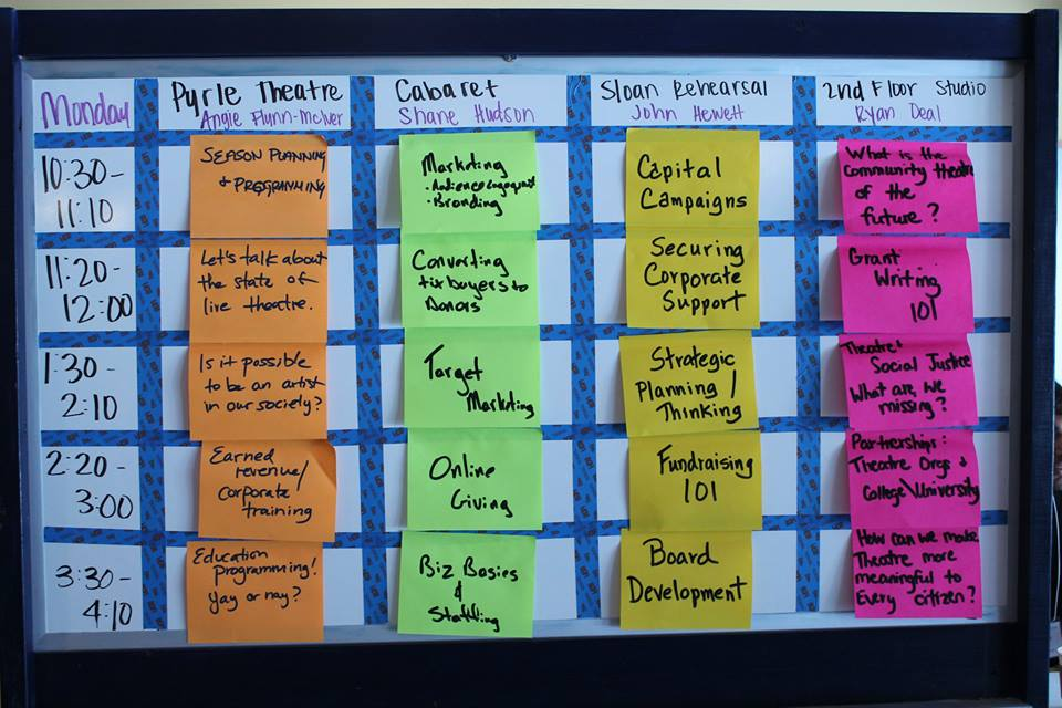 Monday's agenda from the 2015 NCTC Producing Gathering unConference.