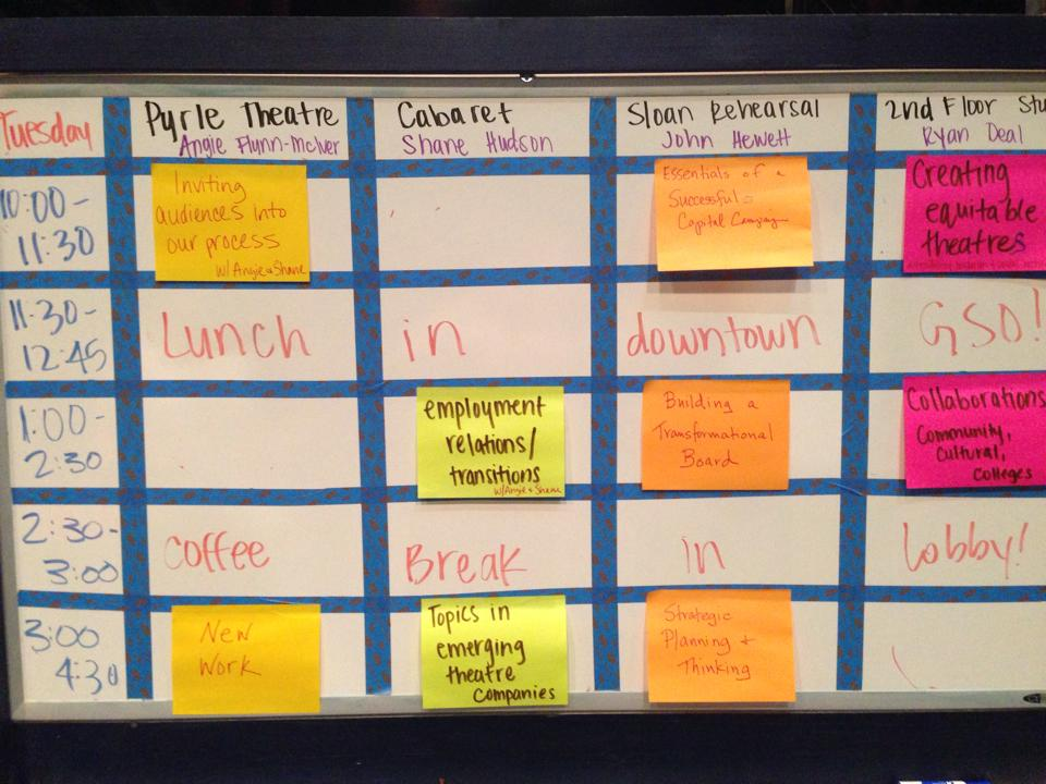 Tuesday's agenda from the 2015 NCTC Producing Gathering unConference.
